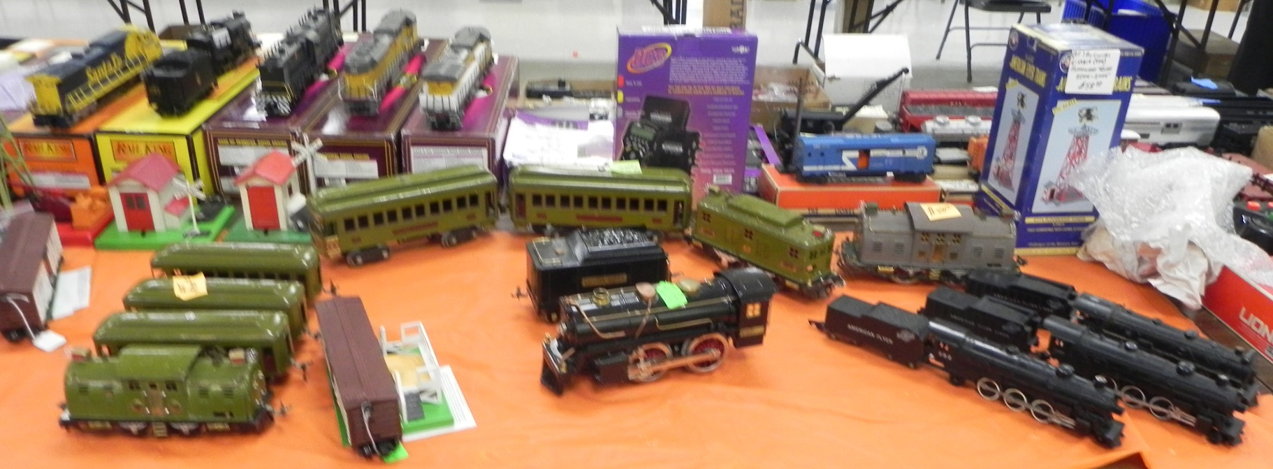 Tables full of trains for sale at the SW Division monthly train meet